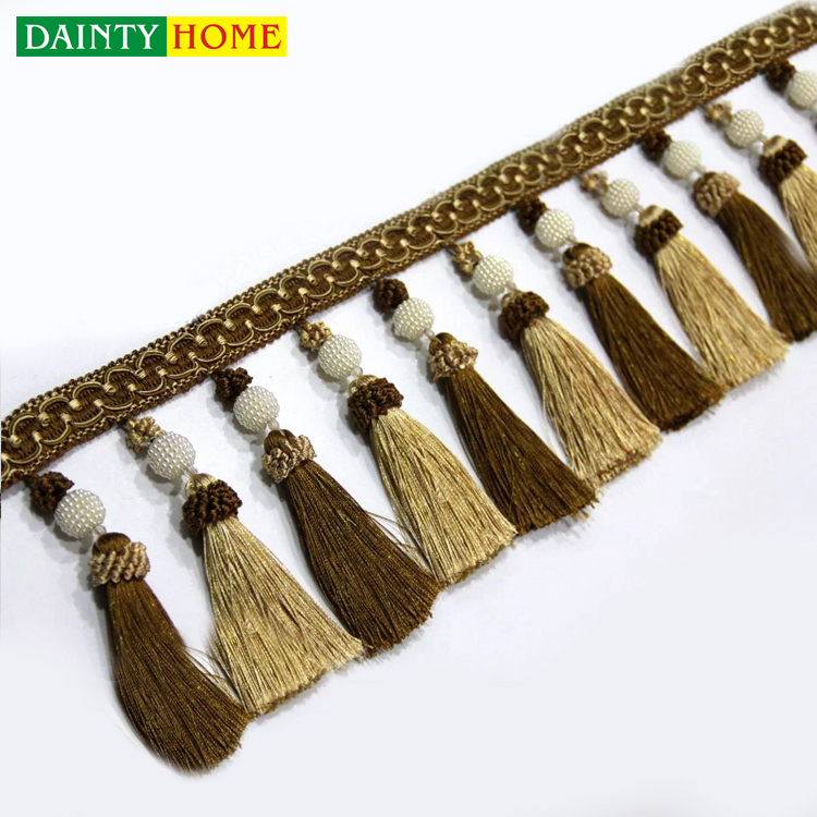 Factory Price Free Sample Curtain Light Brown Tassel Fringe With Beads
