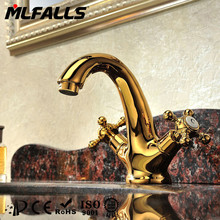 Bathroom sanitary fittings dual handles basin Ti-PVD gold color taps