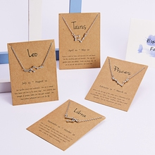 Wholesale Fashion Zircon Inlay Personalized Astrology Horoscope <strong>Necklace</strong> Jewelry With Card Minimalist 12 Zodiac <strong>Necklace</strong>