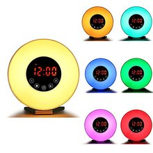 Alarm Clock Wake Up Light Touch Simulation Sunrise Sunset & Snooze FM Redio Function Night Light 6 Colors 7 Alarm Sound