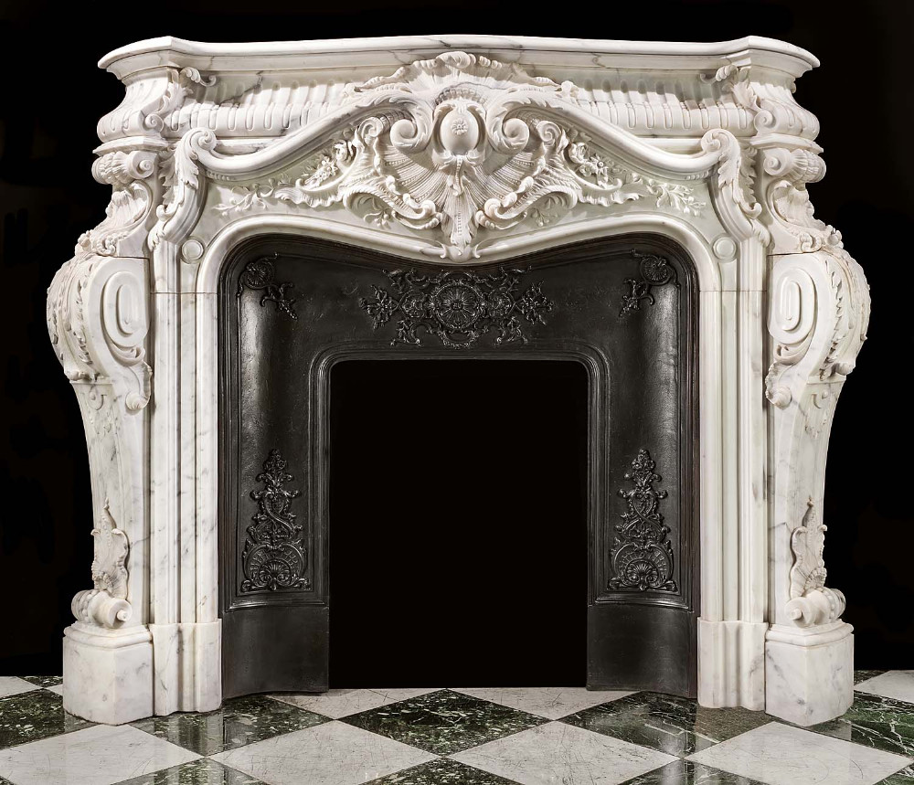 Factory Price Louis XV French Style Carved Marble Fireplace Surround