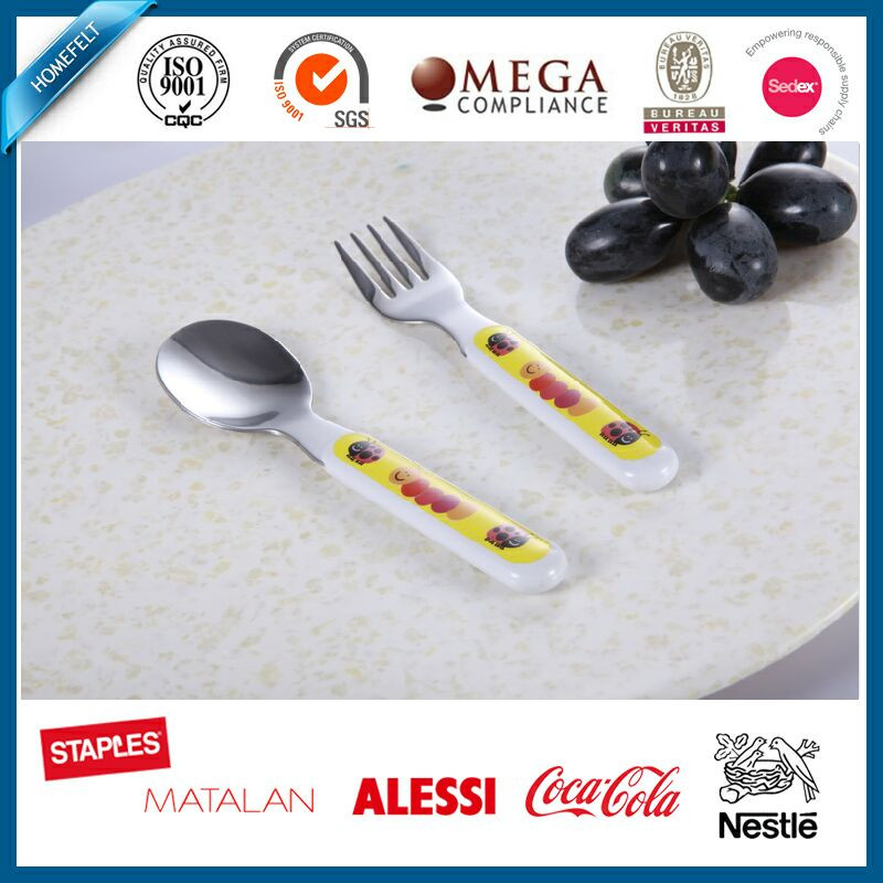 Cute and Hot Selling Stainless steel spoon&fork set with Melamine handle