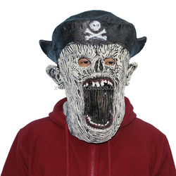X-MERRY Halloween Mask Latex Pirate w/ Eye Patch Costume Head Adult Scary Creepy Horror