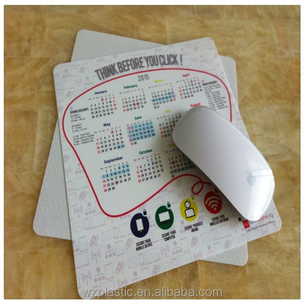 Customized Thin printed calendar logo PVC mouse pad