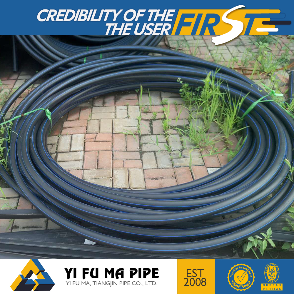plumbing materials 16mm hdpe black pipe with red stripe hdpe pipe list