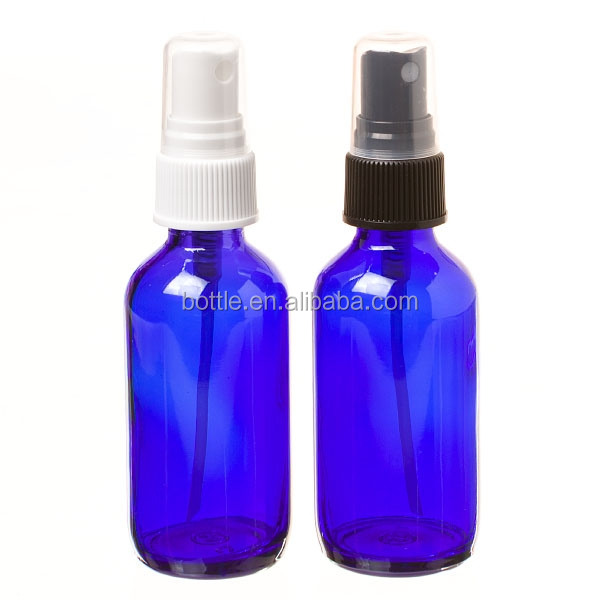 4 oz. Cobalt Blue Boston Round GLASS Spray Bottle with White Fine Mist Sprayer