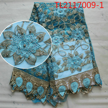 free shipping tulle net lace textile fabric 3D flower lace embroidered fabric with beads