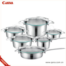 German style high quality cooking pots 12pcs stainless steel thermometer cookware set