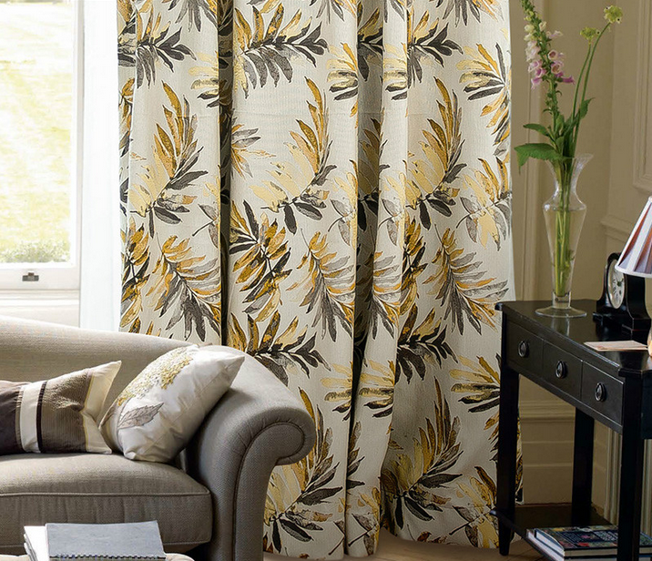 fashion linen floral jacquard curtain fabric fancy luxury jacquard blackout curtain bedroom living room pleated window curtain