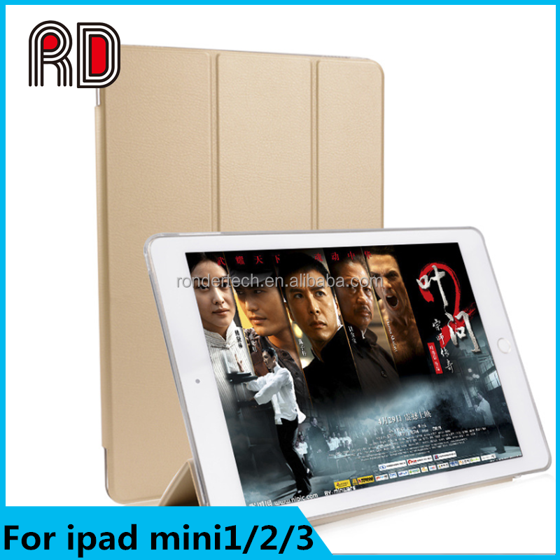 Luxury Flip Leather Transparent Clear Back Case For ipad mini 1/ 2 /3 air 2/5/6 Retina Accessories Stand Cover