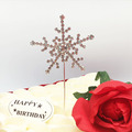Hot sale Metal 6cm Silver snowflake happy birthday wedding cake topper