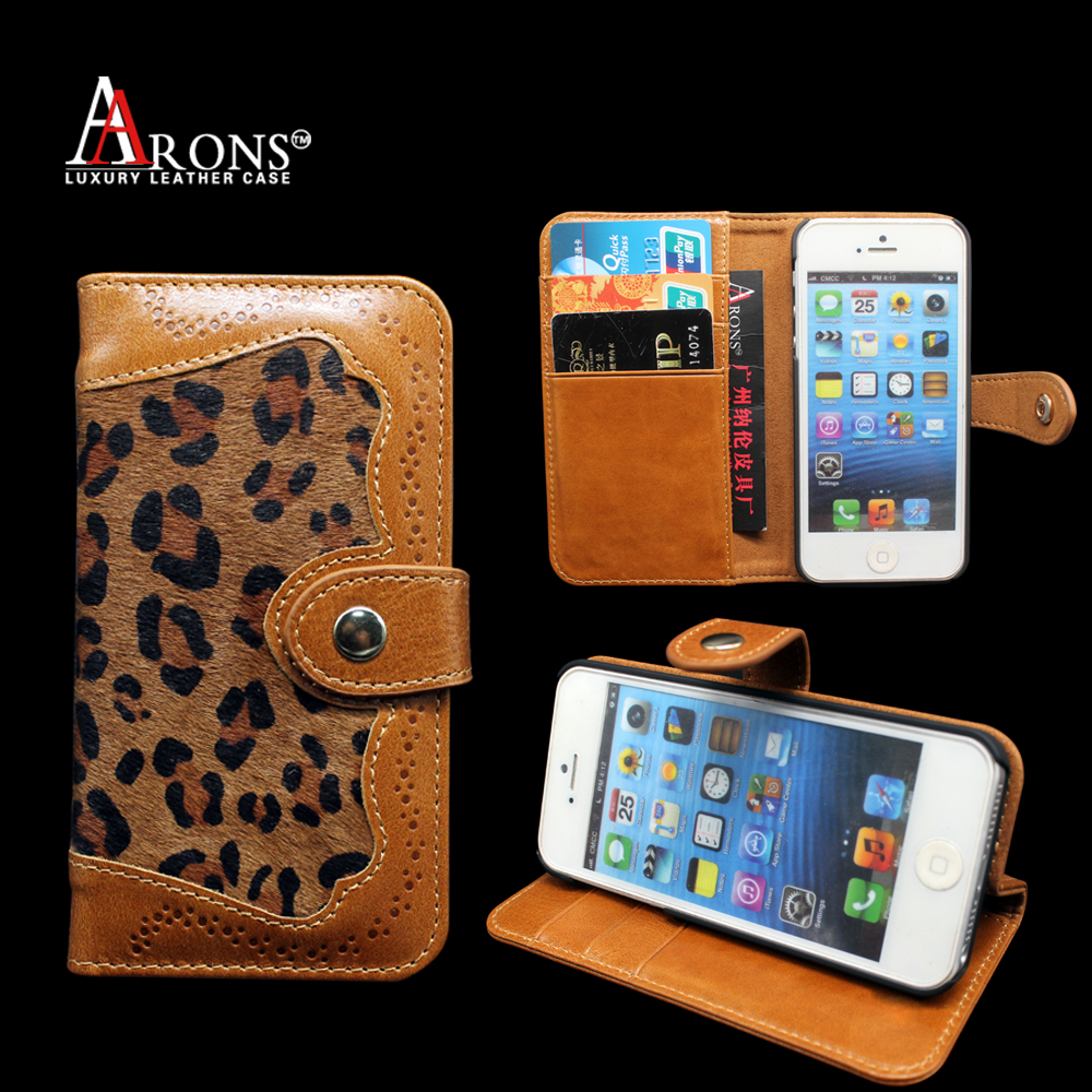 Aaron Premium horse hair leather wallet phone case genuine cowhide leather folio book case for iphone5s /SE