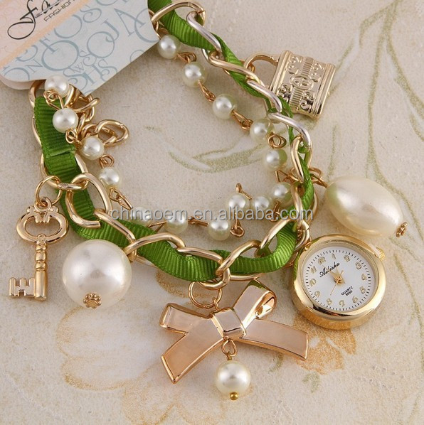 015 fashion women Watches Artificial Pearl Rhinestone dress watches bracelet Quartz wristwatches