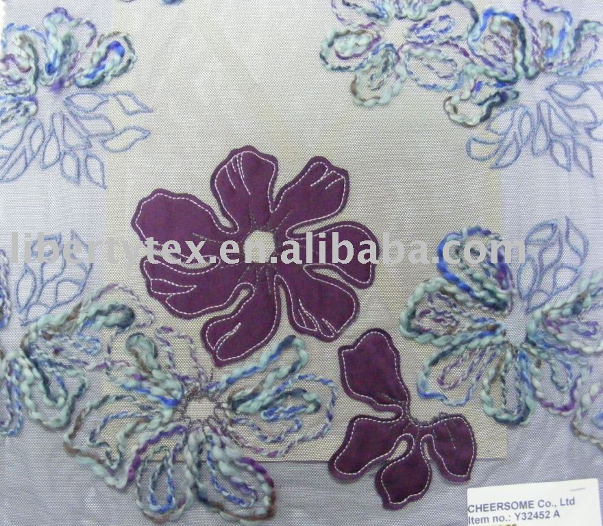 Colorful fashion flower embroidery lace allover fabric
