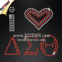 I Love Delta sigma theta fabric Rhinestud hot fix transfer delta sigma phi shirts