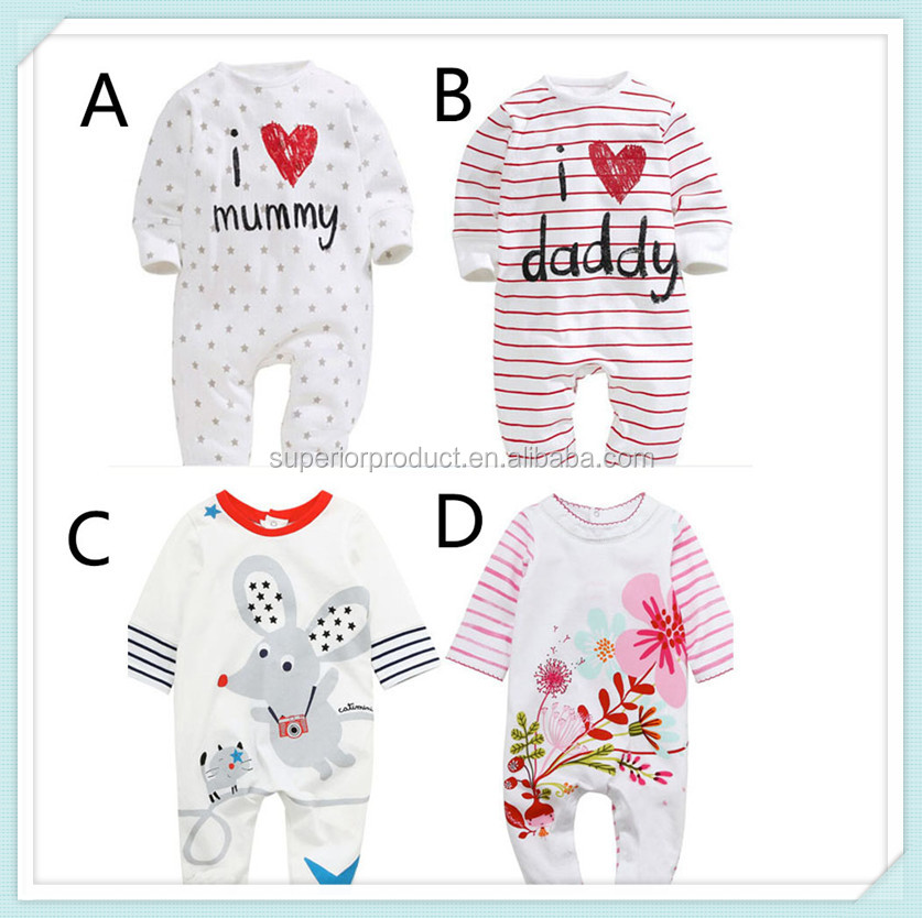 I Love Papa Mama Printed Baby Rompers Full Sleeve Baby Boys Girls Romper Jumpsuits Cater Cotton Newborn Kids Infant Clothing