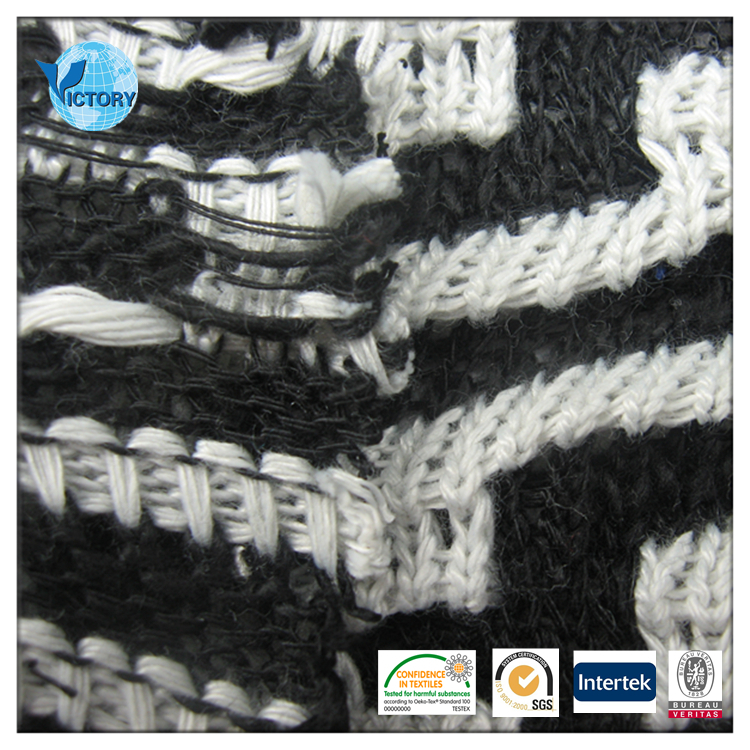 Practical Sofa Coarse Needle Weft Knitted Jacquard Yarn Dyed 100% Polyester Knit Jersey Fabric