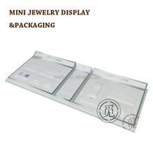 Remarkable stainless steel decorate diamond necklace ring jewery display tray stand set for jewelry shop counter