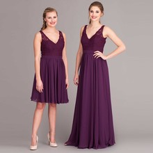 BD44 High Quality Girl Party Dresses for Maid of Honor Knee Length Chiffon and Lace Short V-Neck China Bridesmaid Dresses