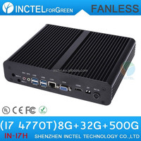 Intel H87 fanless gaming computer case with Intel core i7 4770T 2.5GHZ Quad Core 8G RAM 32G SSD 500G HDD