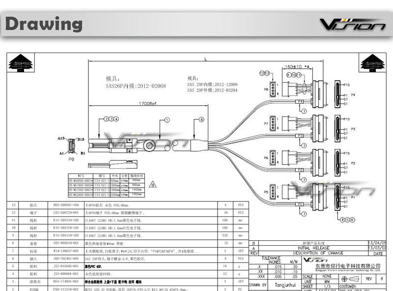 Mini Sas Sff 8088 26p To 4 X Sas Sff 8482 29 Pin Cable 1