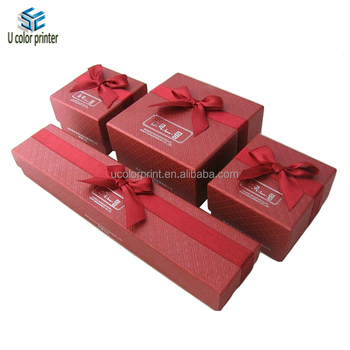 Luxury Red Cardboard Jewelry Paper Box Set With Ribbon Tie