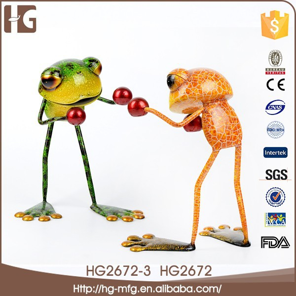 New arrival metal craft frog shaped china import items decor for home