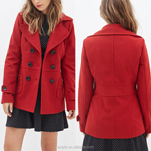 ladies double-breast classic winter red coats,western style simple coats for women wear