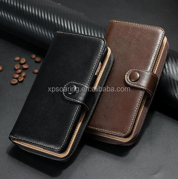 Genuine wallet leather case for iPhone 7 7 plus, Detachable real leather case for iPhone 7