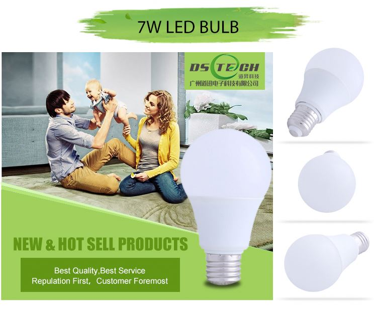 Most simple but useful low heat no uv led light bulb 7w e27 led bulbs white