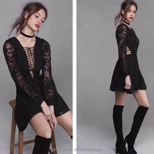 factory yong ladies long selvee sexy transparent party dress