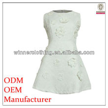 The newest fashion neck models cotton dress with flowers