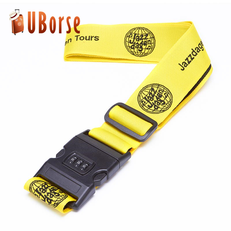 Uborse Cheap and Adjustable Promotional Luggage Belt Strap with digital lock
