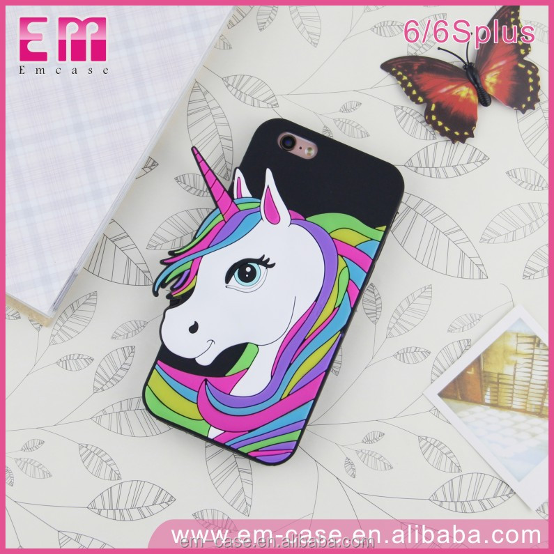New Cartoon 3D Cute Horse Soft Silicon Creative Unicorn Mobile Phone Back Cover Case For iPhone5 / 6 / 6plus