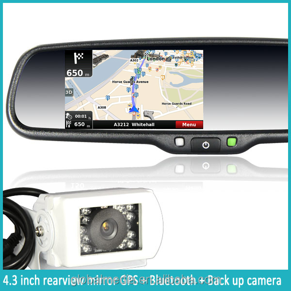 High Definition GPS Navigation System Rearview Mirror with Bluetooth/Phone Book/FM/MP4/MP3/Back-Up Display