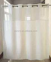 water proof plain fabric hookless shower curtain/bath curtain
