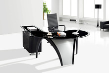 Glass Executive Office With Glass Top L Shape Executive Office Table PT-D065