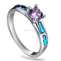 2015 Spring luxury silver tone alloy inlay zirconium wedding ring