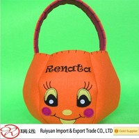 Alibaba Hot Selling!!! Pumpkin basket felt halloween decoration