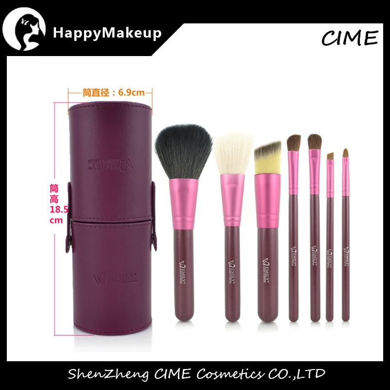 Makeup Premium Cosmetics Emily 7pcs Goat Hair Make-up Brushes With Cylinder
