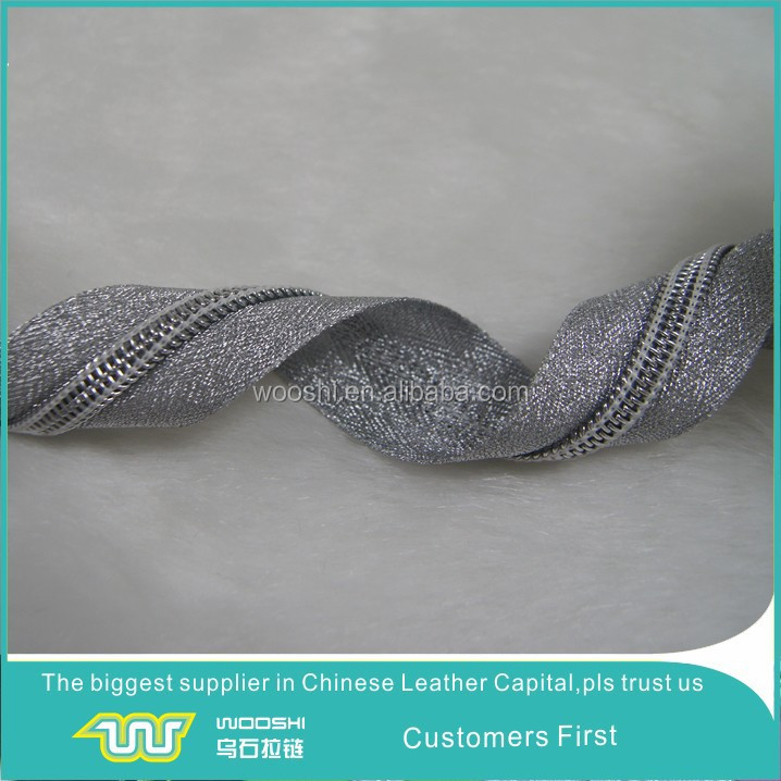 China factory hot selling silk zipper tape silver nylon zip chain for decorative clothes