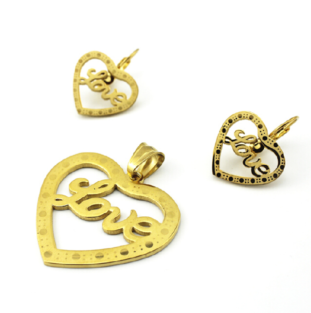 2016 Wholesale Fashion Gold Plated Stainless Steel Love Heart Jewelry Sets