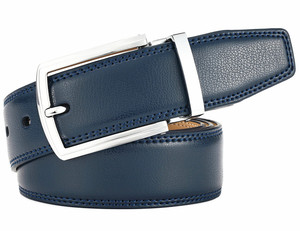 Navy Double Sided  Pin Buckle Mens Reversible Leather Belt