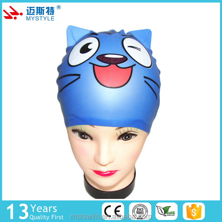 China factory price oem odm high quality cat kids silicone swim cap