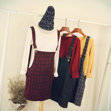 C85361A Japan style lattice young lady strap dress/fashion korea style young ladies strap dress