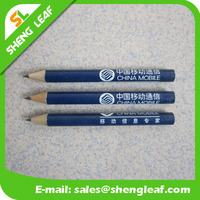 Blue hexagon pencils shaped with white logo printed