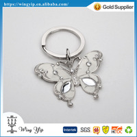Custom made fancy Butterfly Shape with Crystals electroplate Gift Key Ring