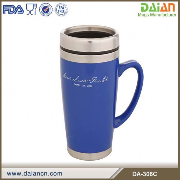 16OZ double walled plastic insulated travel coffee mug with Solid plastic outer