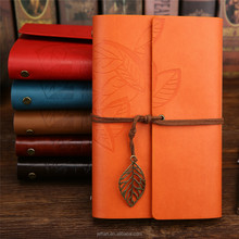 Wholesale Sale leaf shaped Recycled sketchbook vintage Leather diary Notebooks for custom