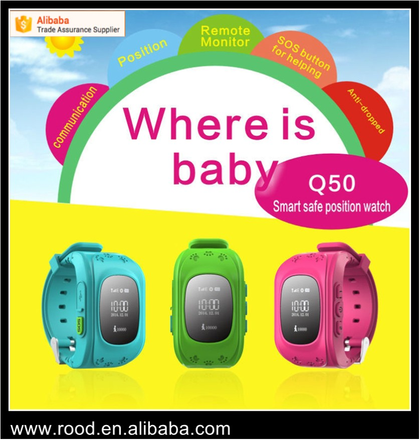 Factory direct cheap price Q50 kids smart watch GPS tracking children silicone smart watch